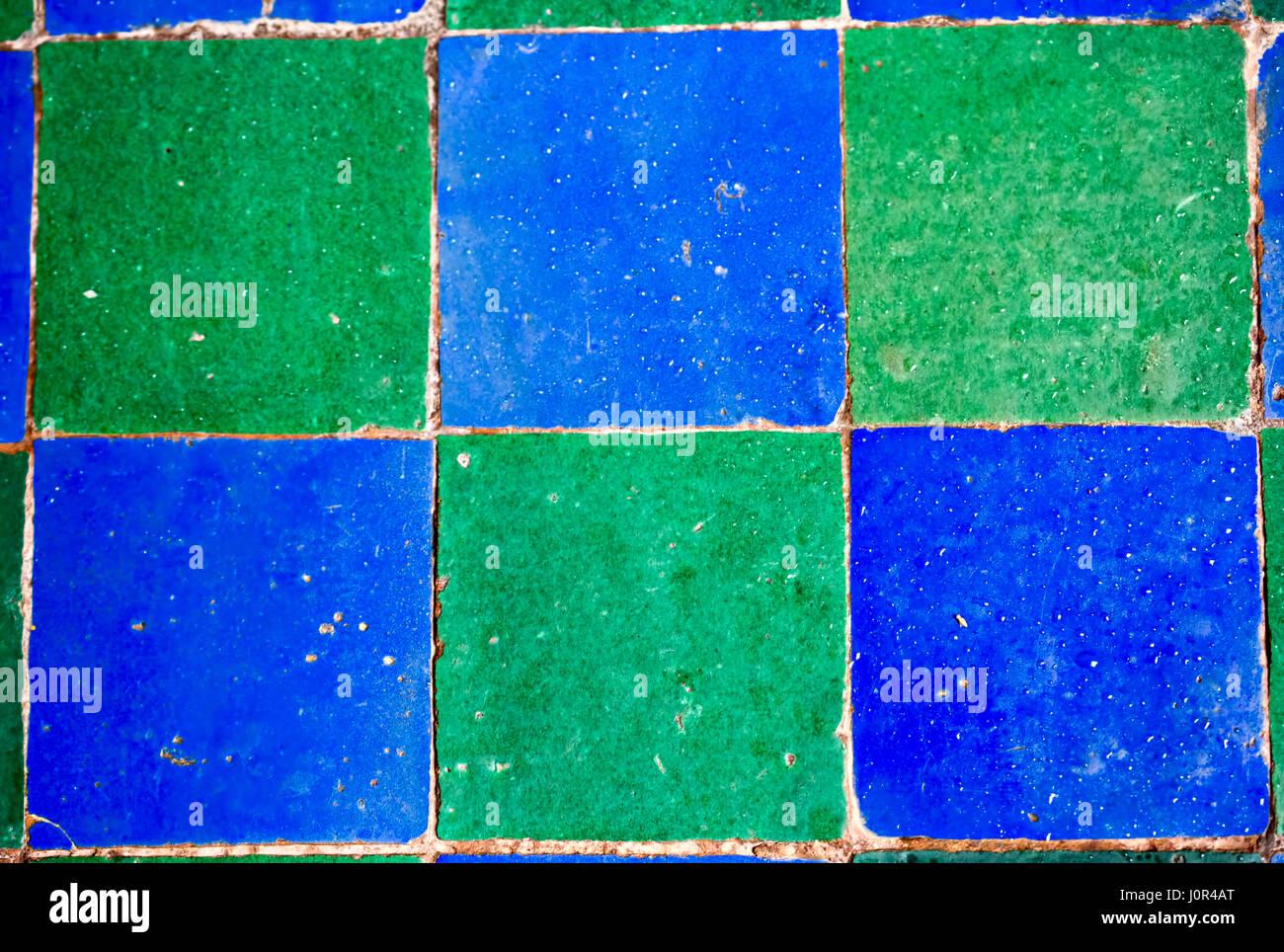 Blue green mosaic tiles Stock Photo