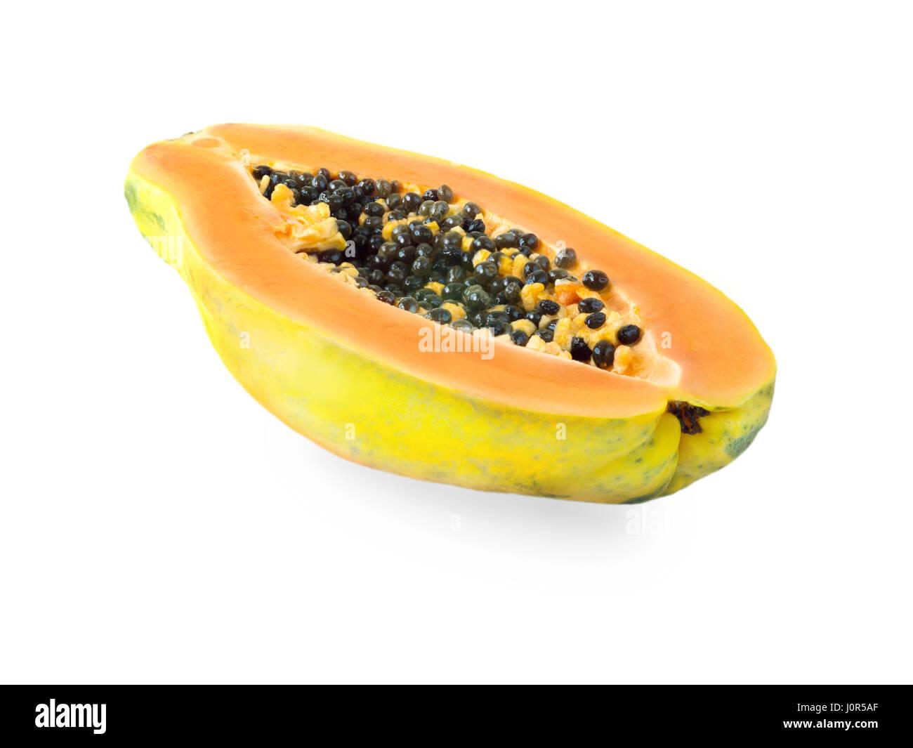 Ripe orange papaya half isolated on white - Stock Image