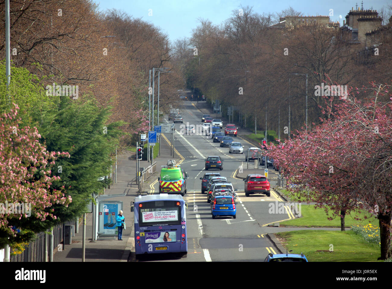 Great Western Road at Gartnavel General Hospital Glasgow Scotland street scene high viewpoint - Stock Image