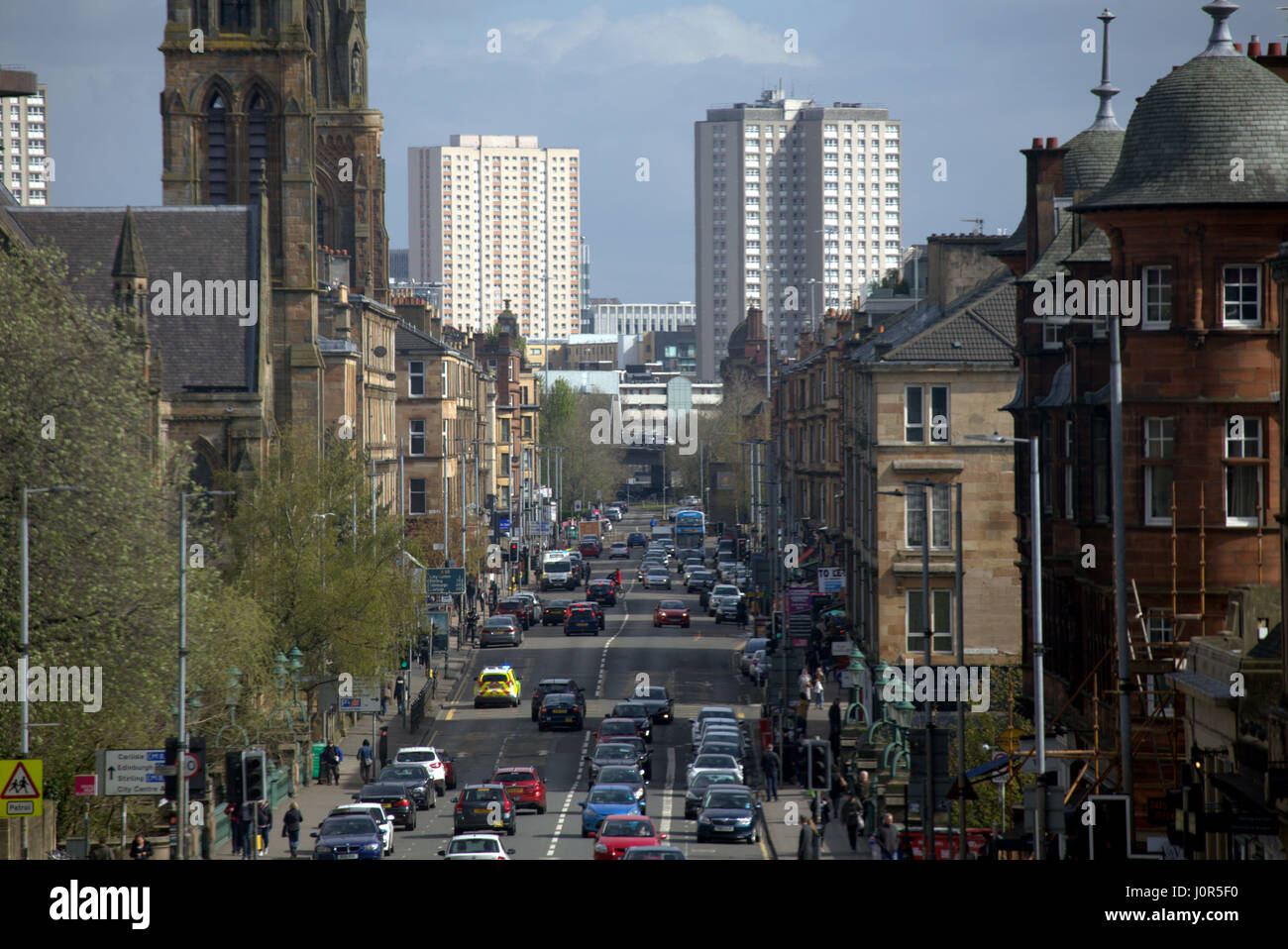 Great Western Road at Kelvin Bridge Glasgow Scotland street scene high viewpoint - Stock Image