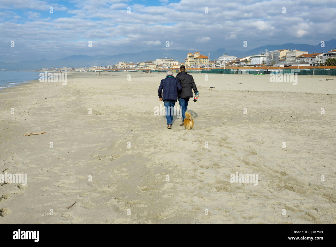 Father and son from behind while walking together with their small dog on a sand beach in winter, Viareggio, Tuscany, - Stock Image