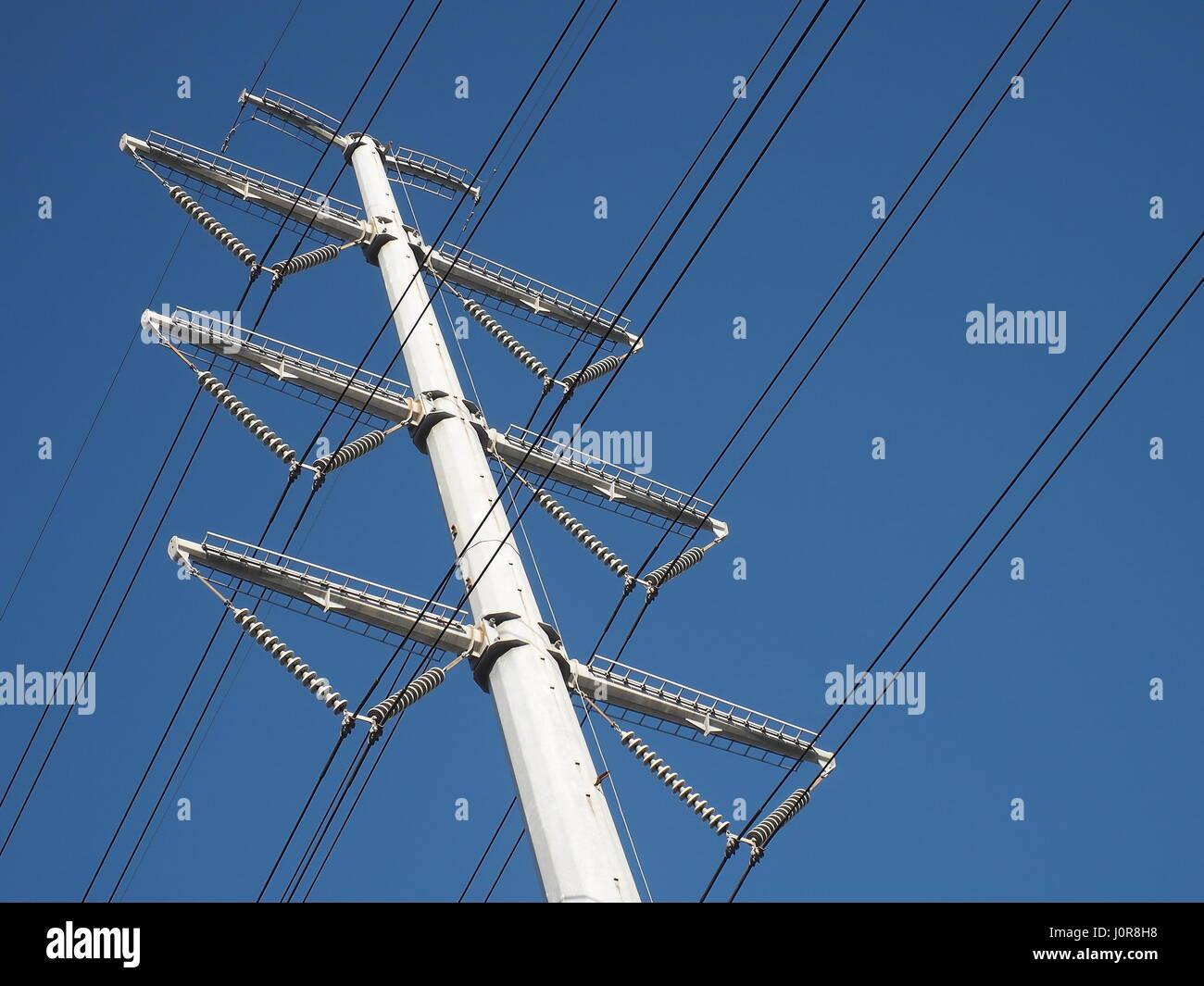 high voltage mono pole transmission line Stock Photo: 138194596 - Alamy