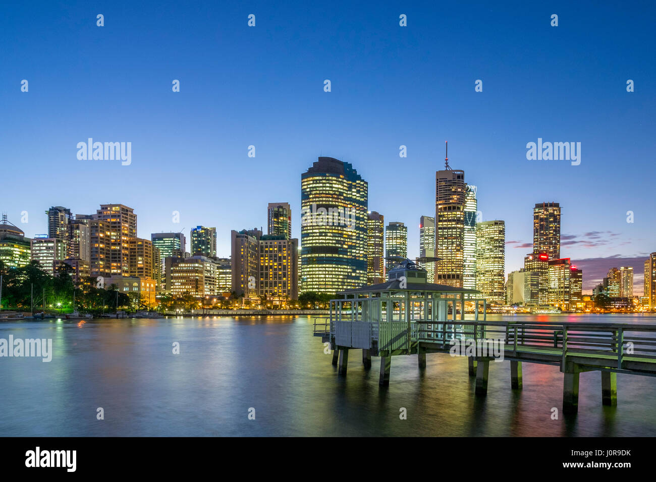 Night view of skyline of central business district of Brisbane in Queensland Australia - Stock Image