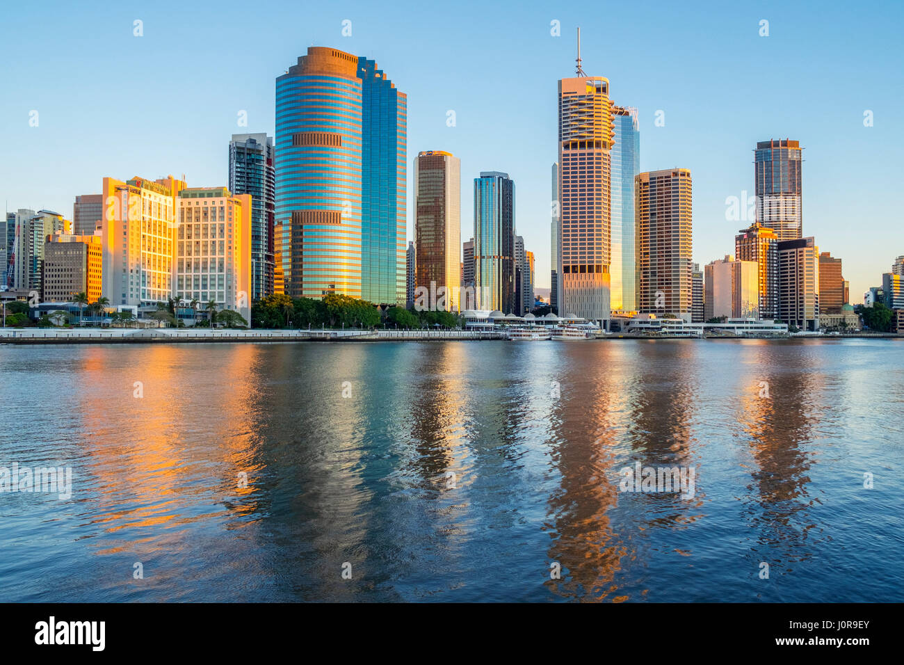 Dawn view of skyline of central business district of Brisbane in Queensland Australia - Stock Image