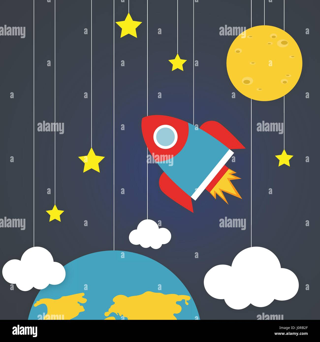 Spacecraft Vector illustration Space with planets, stars, clouds and flying rocket in paper art cartoon style Trendy - Stock Image