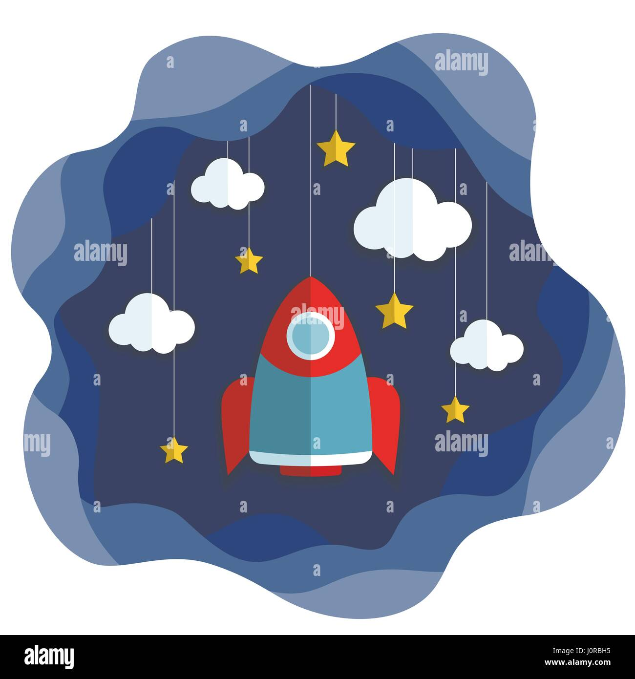 Spacecraft Vector illustration Space with stars, clouds and flying rocket in paper art cartoon style. Trendy cute - Stock Image
