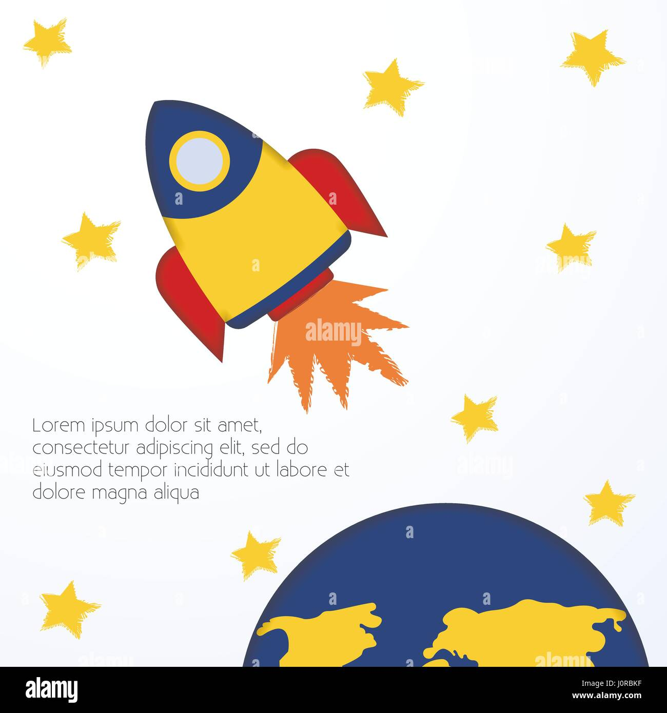 Spacecraft Vector illustration Postcard template Flying yellow rocket among stars on white background Cute design - Stock Image