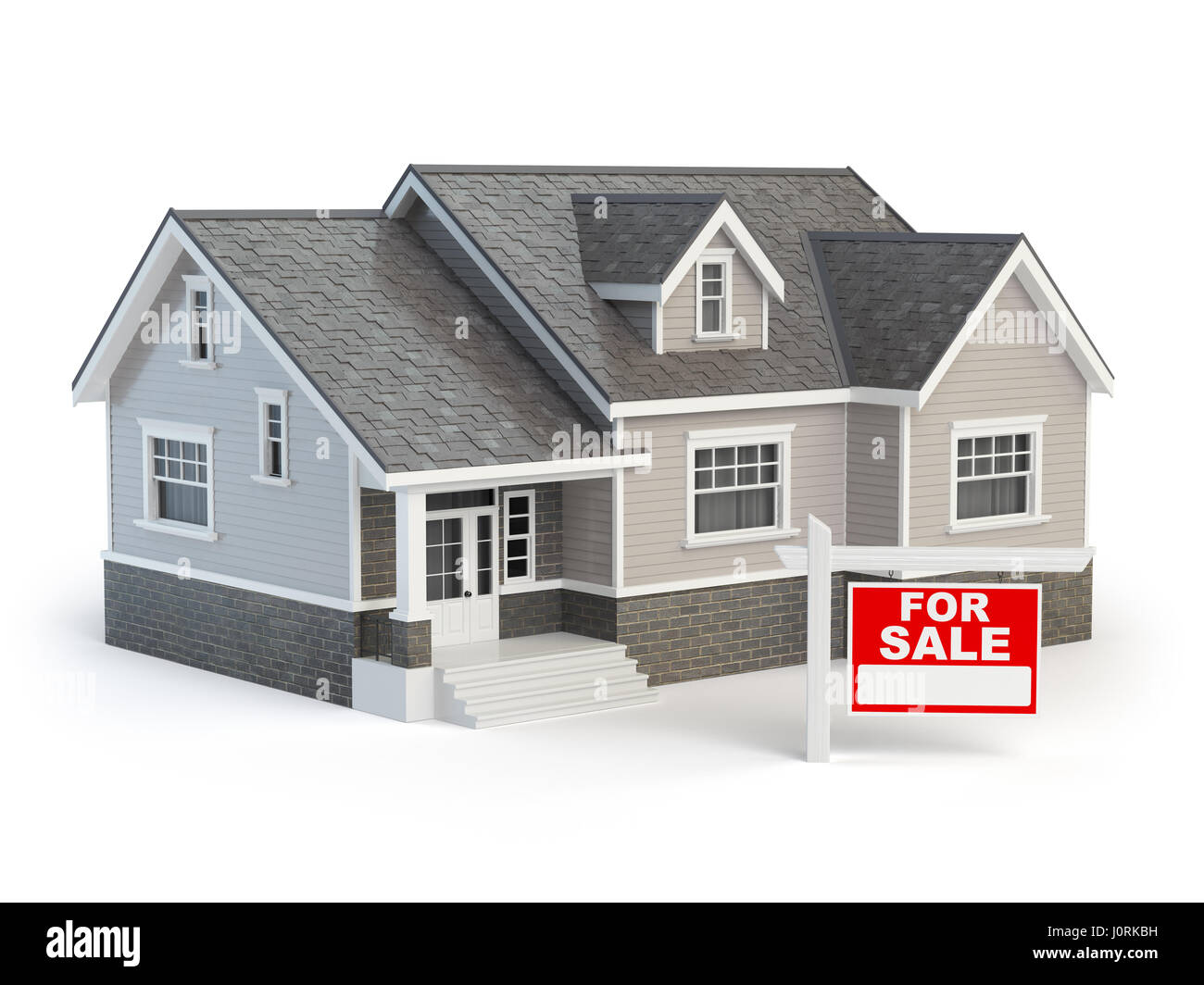 House and for sale real estate sign isolated on white. 3d illustration - Stock Image
