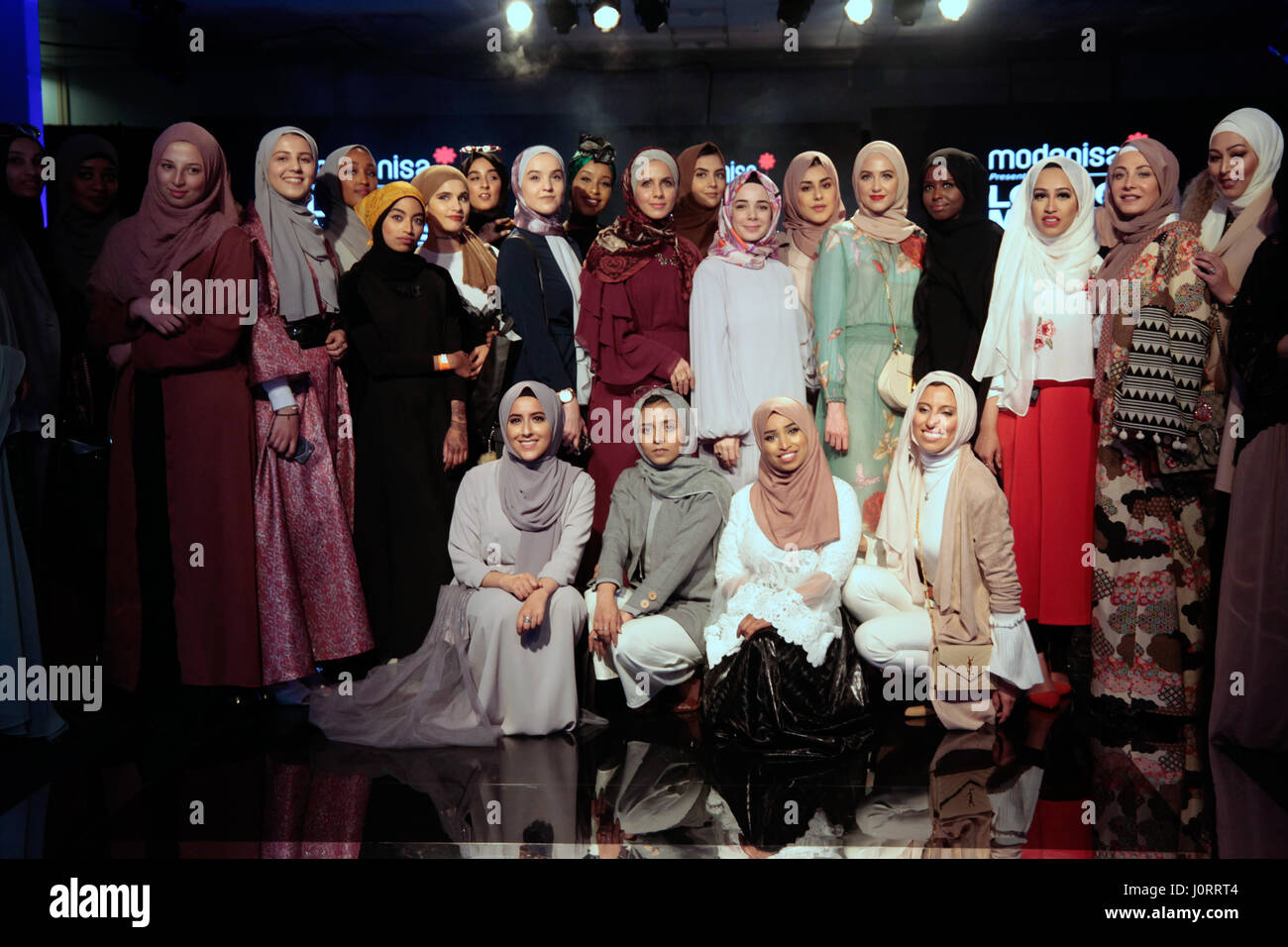 London, UK. 15th April 2017. London Olympia held the Muslim Lifestyle event ,showcasing  clothes ,silk garments,jewelry - Stock Image