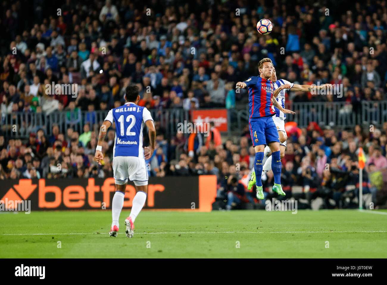 Barcelona, Spain. 15th April, 2017. Ivan Rakitic during the match between FC Barcelona vs Real Sociedad, for the Stock Photo