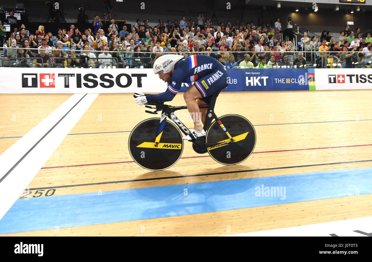 Hong Kong, China. 16th Apr, 2017. Francois Pervis of France competes during Men's 1km Time Trial Final of UCI - Stock Image