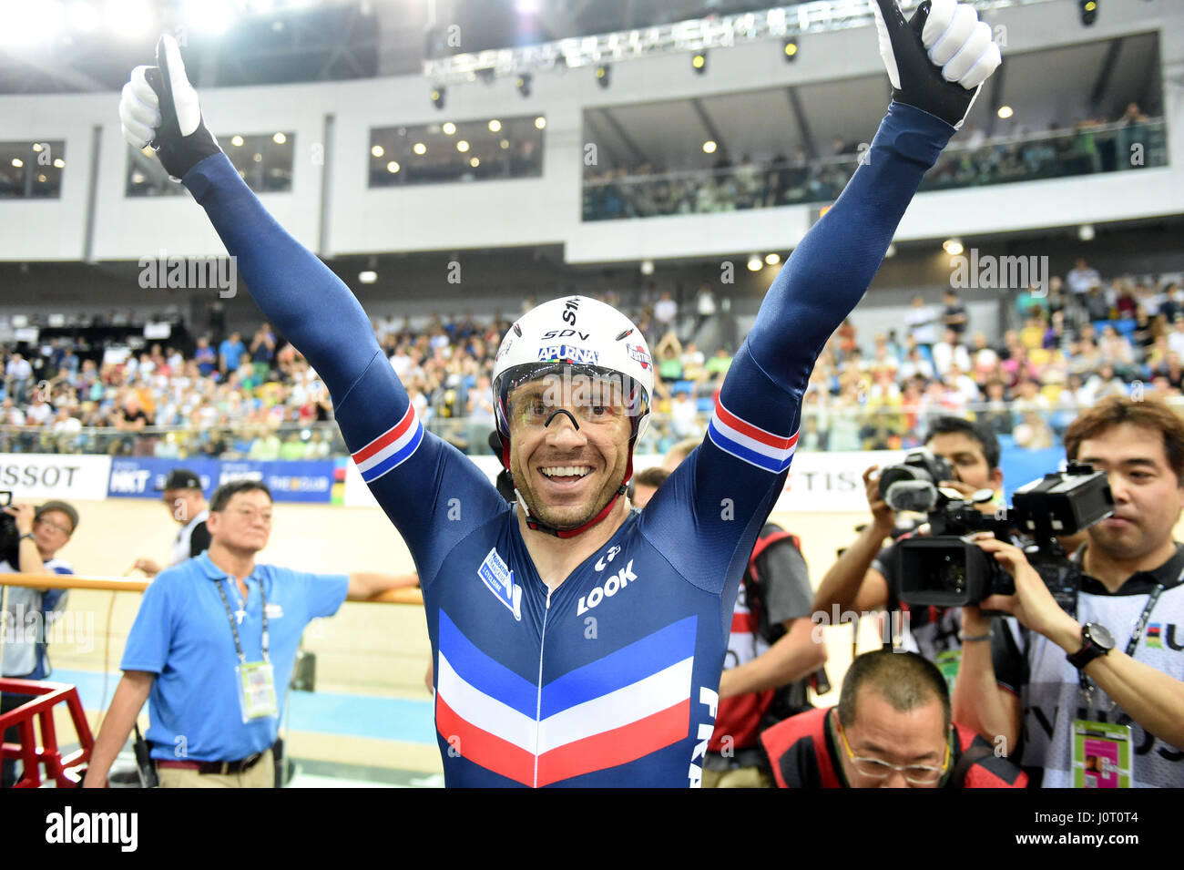 Hong Kong, China. 16th Apr, 2017. Francois Pervis of France celebrates after winning Men's 1km Time Trial Final - Stock Image