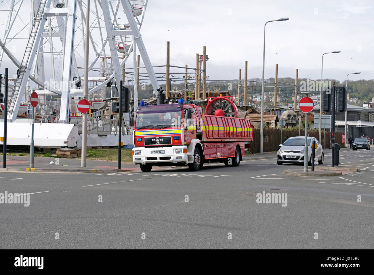 Weston-super-Mare, UK. 16th April, 2017. Avon Fire and Rescue's all terrain rescue unit answers an emergency call. - Stock Image