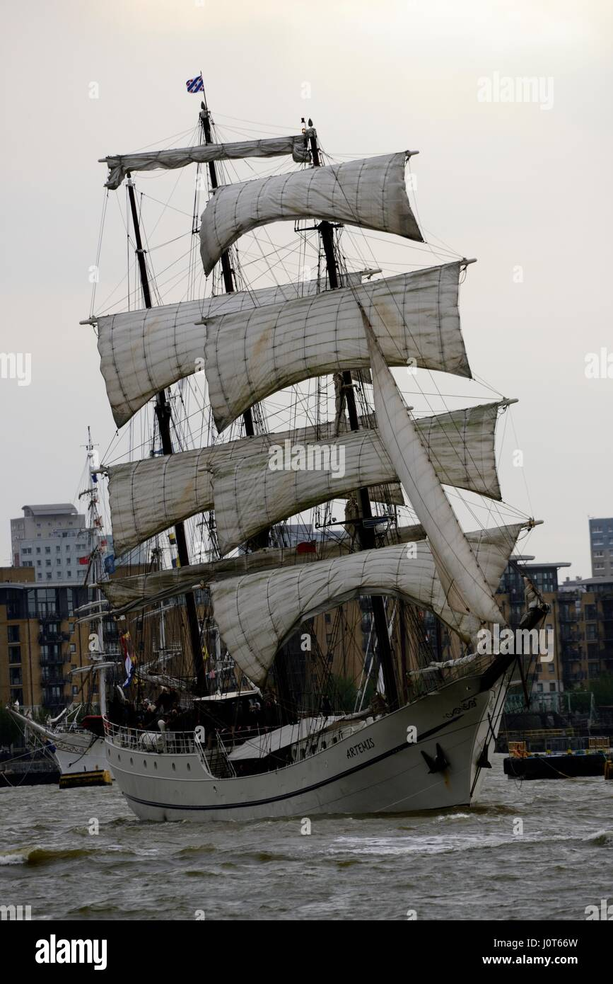 London, UK. 16th Apr, 2017. The tall ships regatta leaving London. Sailing down the Thames river from Greenwich - Stock Image