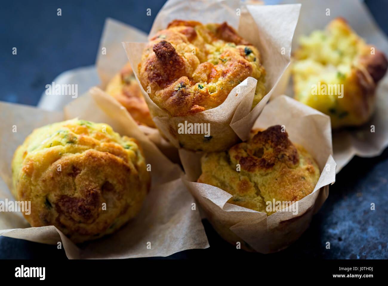 Cheese onion savoury mini muffins - Stock Image