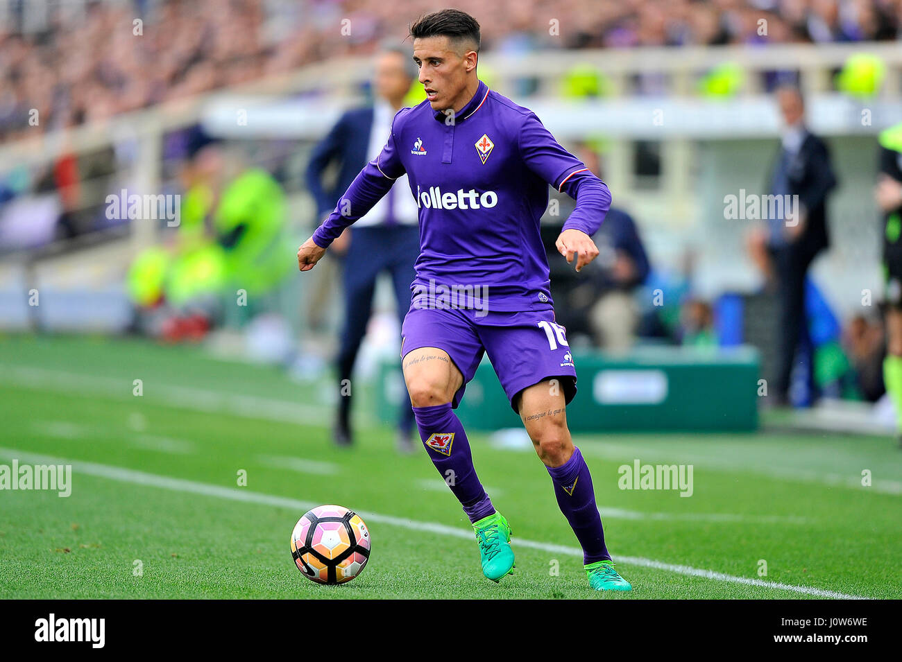 Acf Fiorentinas Cristian Tello In Action During