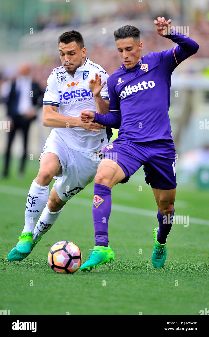 15th Apr 2017 Acf Fiorentinas Cristian Tello R Challenged By Empoli Fcs Frederic Veseli L During The Italian Serie A Soccer Match Between
