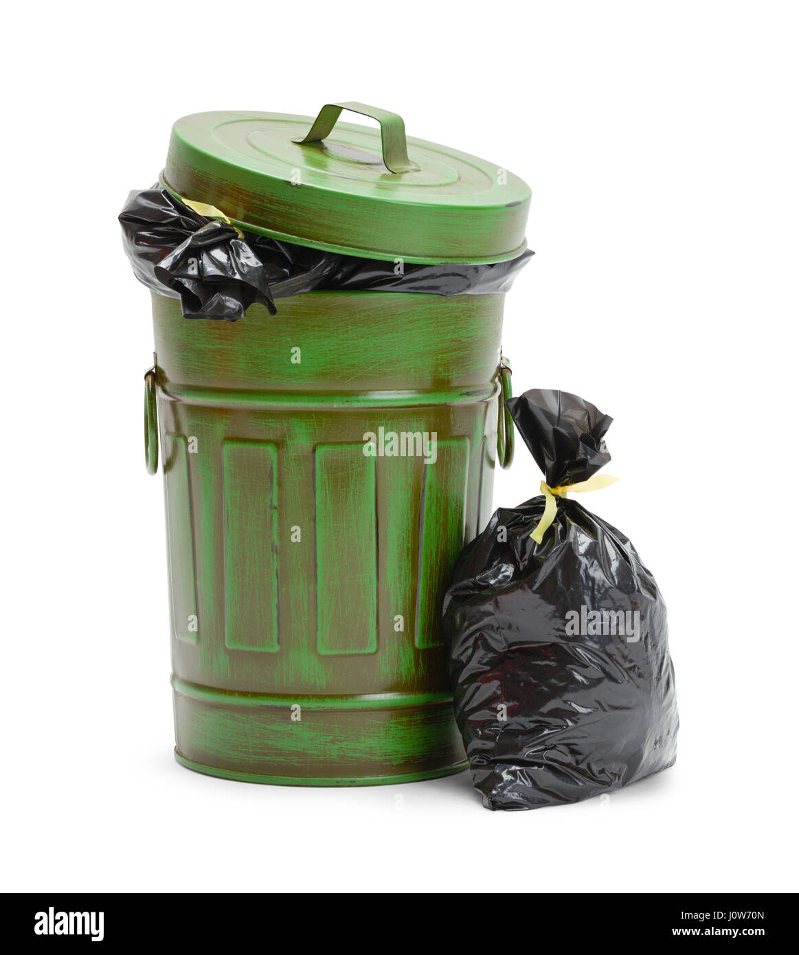 Full Green Trash Can with Garbage Bags Isolated on White Background. - Stock Image