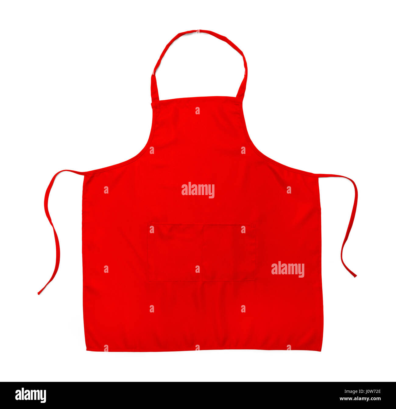 Red Cooking Apron Isolated on White Background. - Stock Image