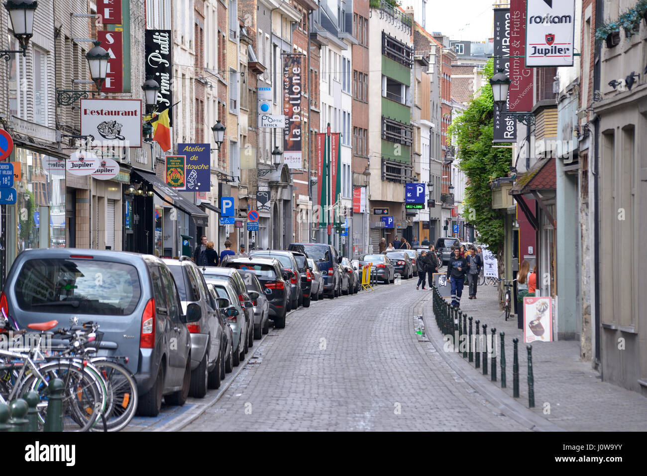Busy commercial street in center of city on October 1, 2016, in Brussels, Belgium - Stock Image
