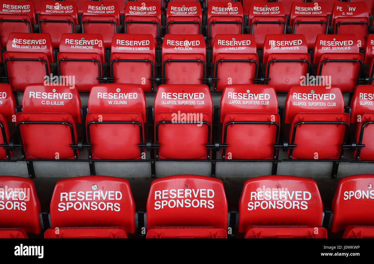 A view of Season Ticket holders seats before the Ladbrokes Scottish Premiership match at the Global Energy Stadium, - Stock Image
