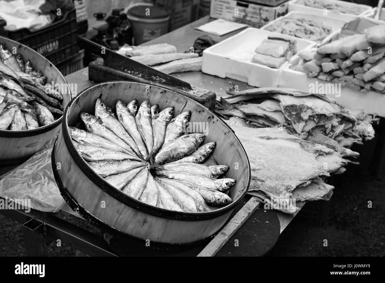 Sardines and different kind of fish on food market, Majorca, Balearic Islands - Stock Image