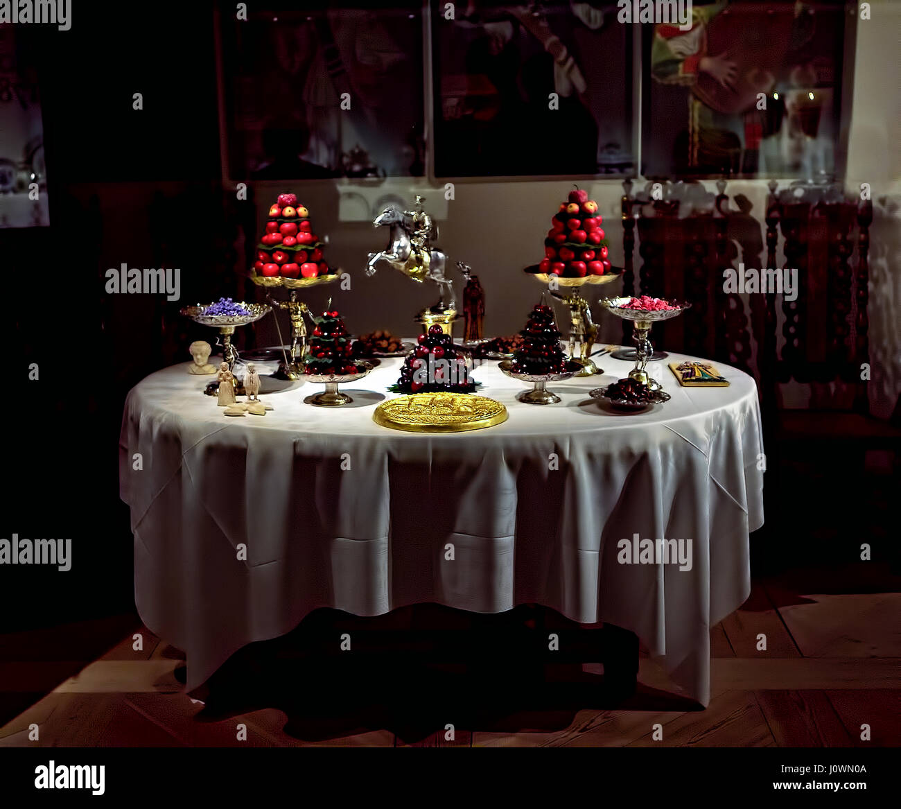 Dessert table setting 17th Century. Exhibition of table settings from the 16th century to circa 1950, Nordiska Museet, - Stock Image