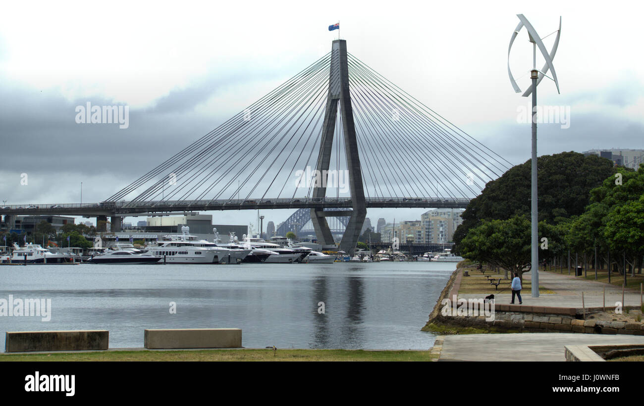 Sydney ANZAC bridge for road and rail transport over water in Australia - Stock Image