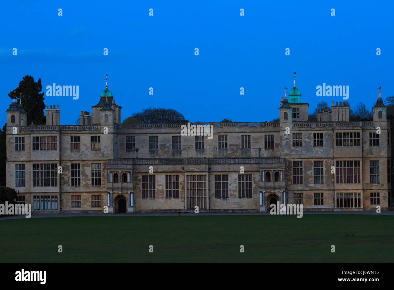 Audley End House & Gardens at Dusk/Blue Hour - Stock Image