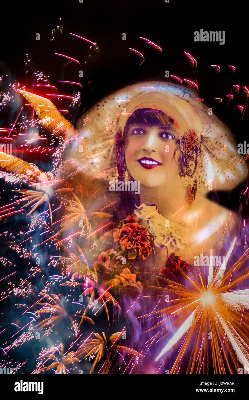 Creative collage of a  smiling, beautiful 1920's flapper girl wearing a drape hat surrounded by exploding fireworks - Stock Image