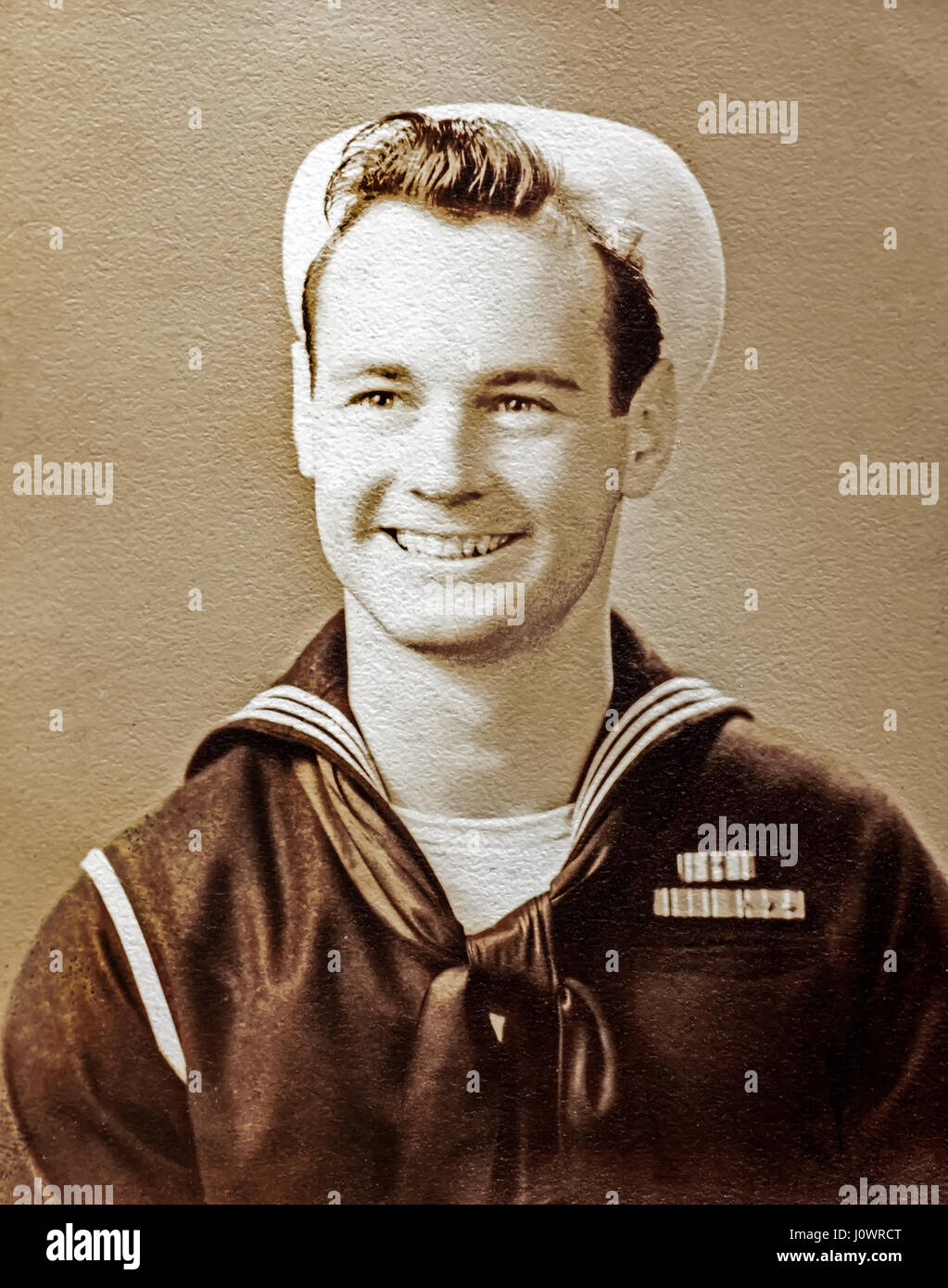 Vintage portrait of a WW 2 Navy Sailor wearing a  dixie cup  white sailor  hat and the  crackerjack  uniform in Hudson b34b3070d2c