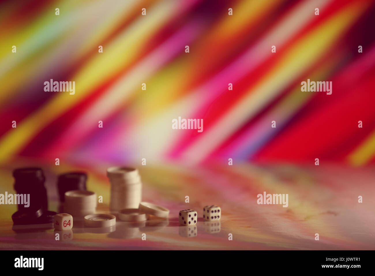 Checkers, dice on the bright background. Abstract background of business concept . Selective focus shallow depth Stock Photo