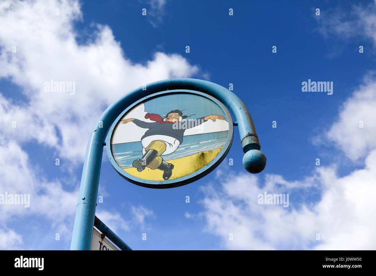Lincolnshire seaside resort of Skegness in Lincolnshire,UK.Jolly Fisherman Logo. Stock Photo