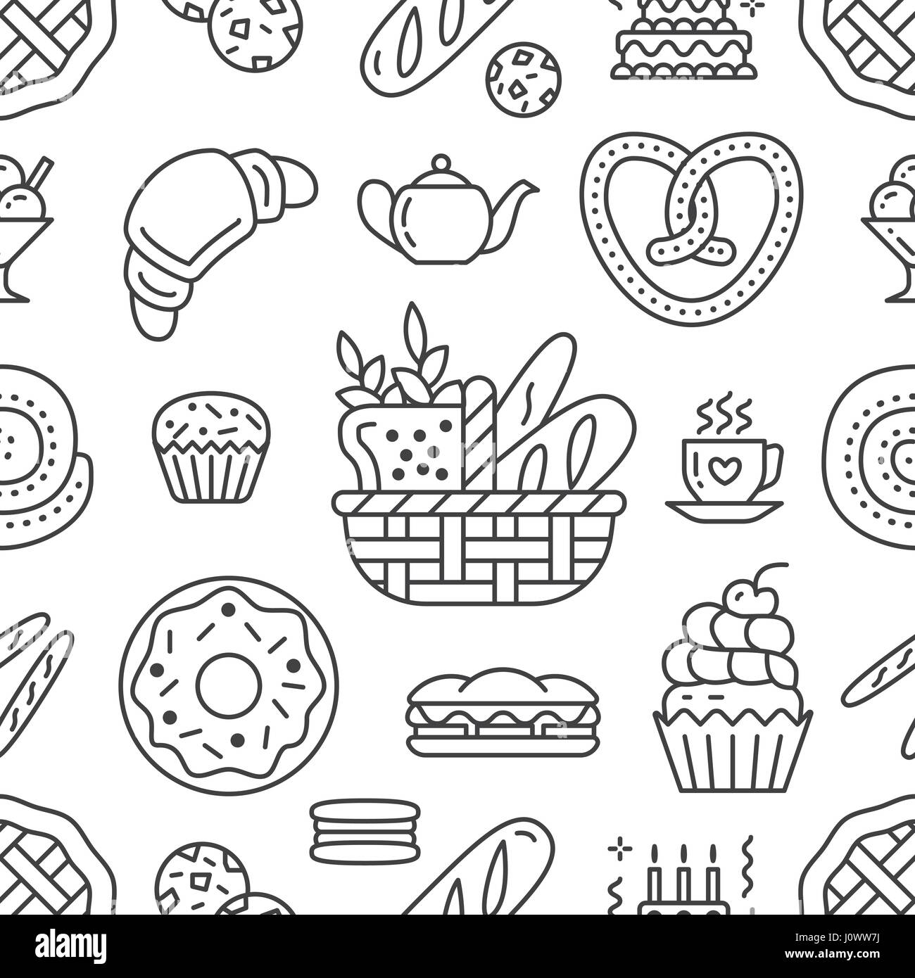 Bakery seamless pattern food vector background of black white
