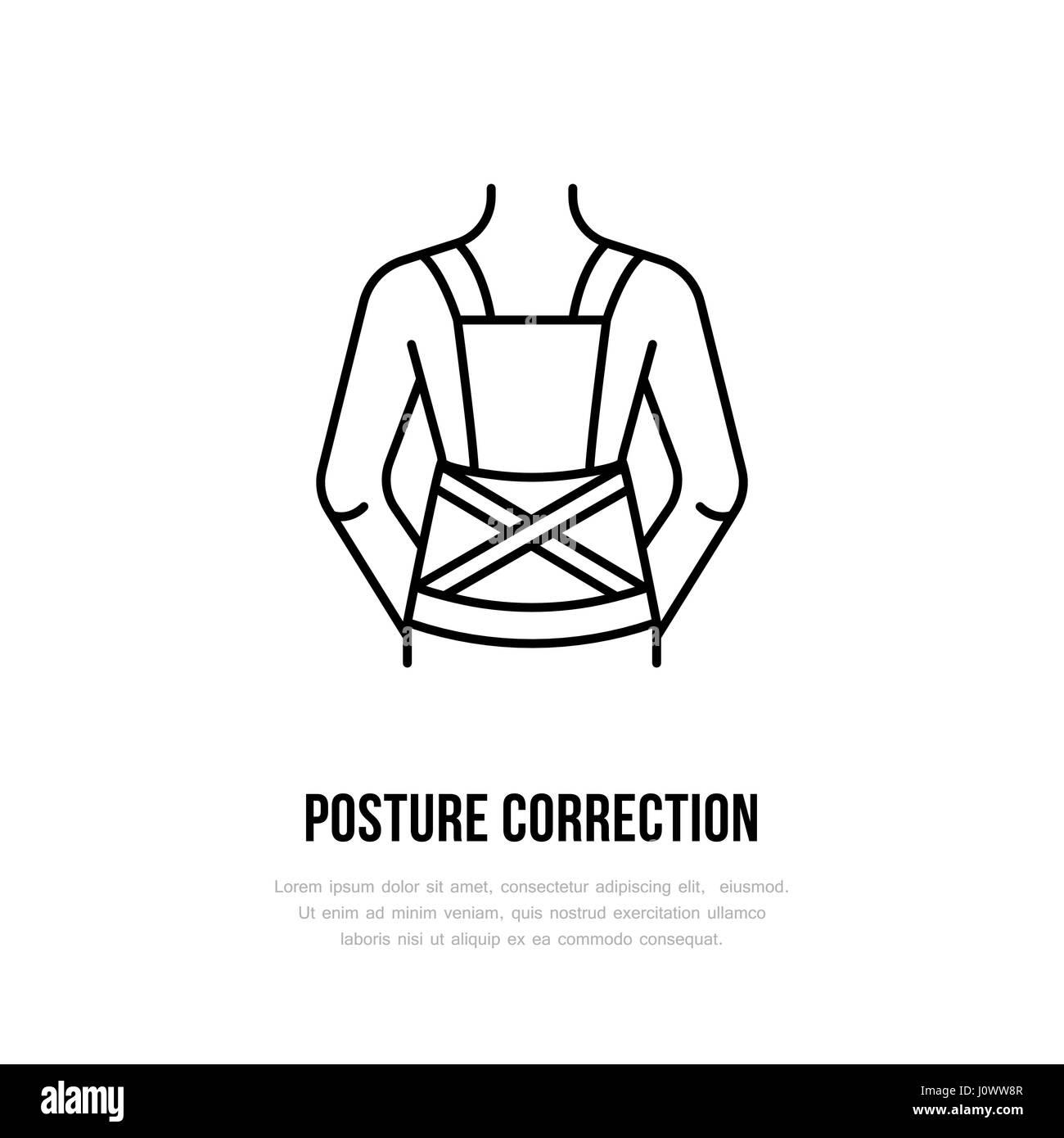 Posture correction icon, line logo. Flat sign for trauma rehabilitation equipment shop - Stock Image
