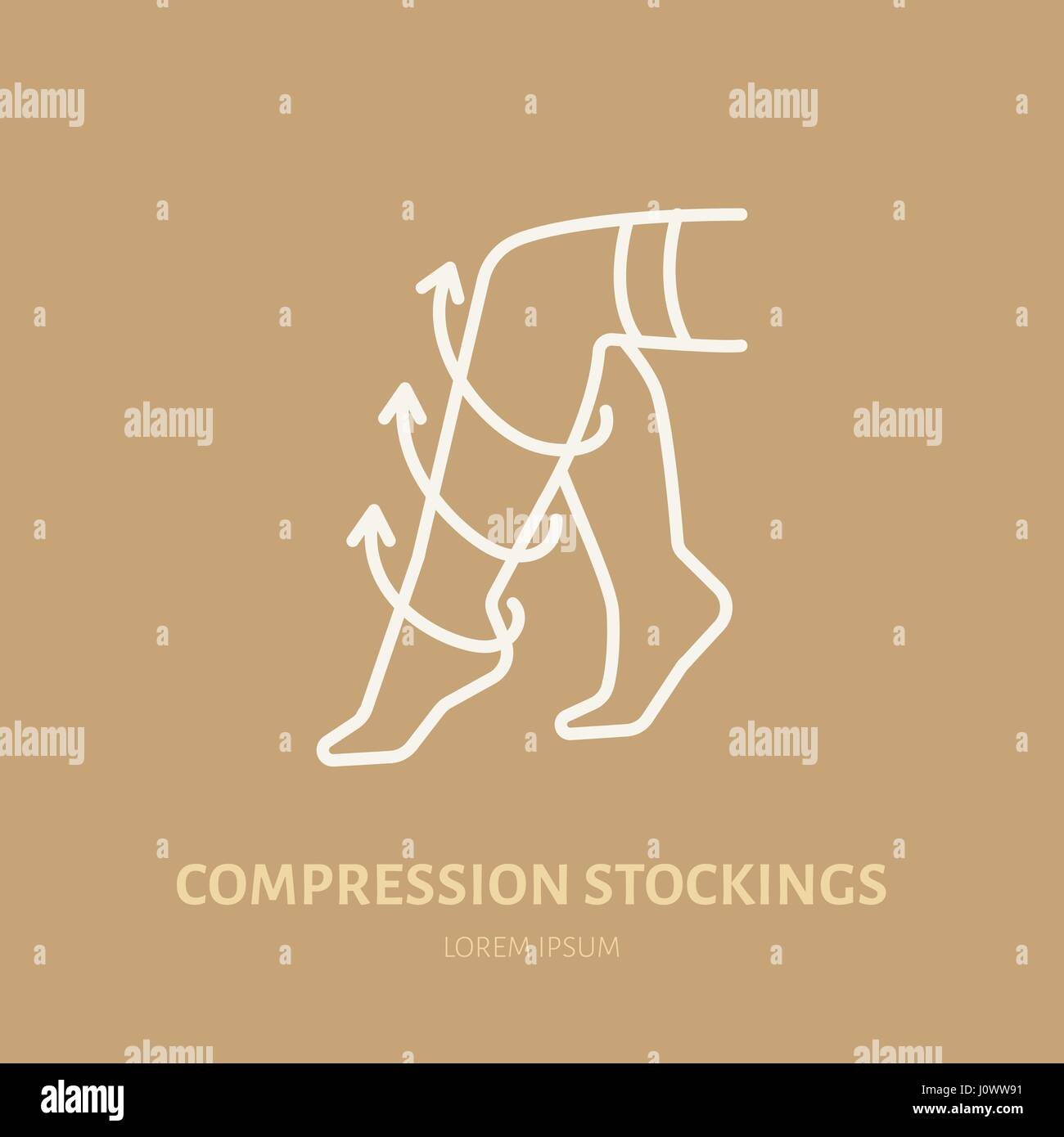 Compression stockings icon, line logo. Flat sign for surgery rehabilitation equipment shop - Stock Image