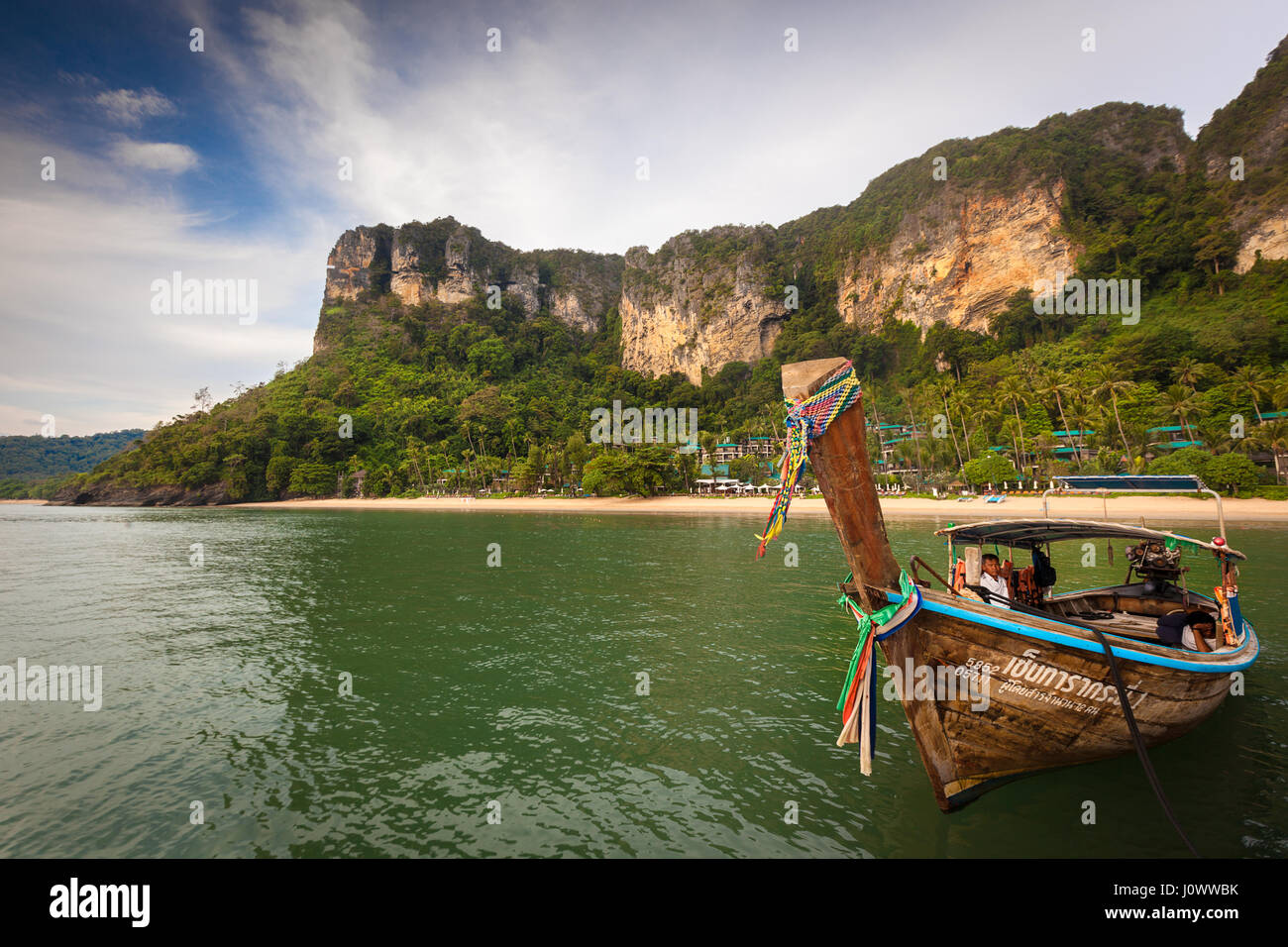 Long Tail Boat moored off Pai Plong Beach, Ao Nang, Krabi Province, Thailand, Southeast Asia - Stock Image
