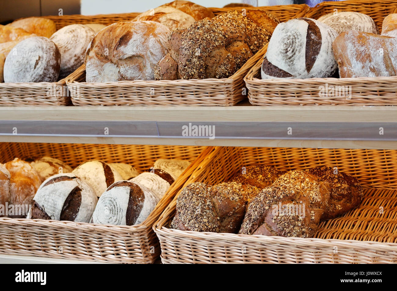 Artisan Bread On The Shelves In Bakeshop