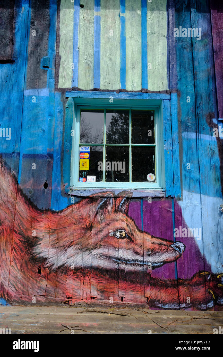Graffiti image of a fox painted on a barn wall in the Village of Bayfield, Ontario, Canada. - Stock Image
