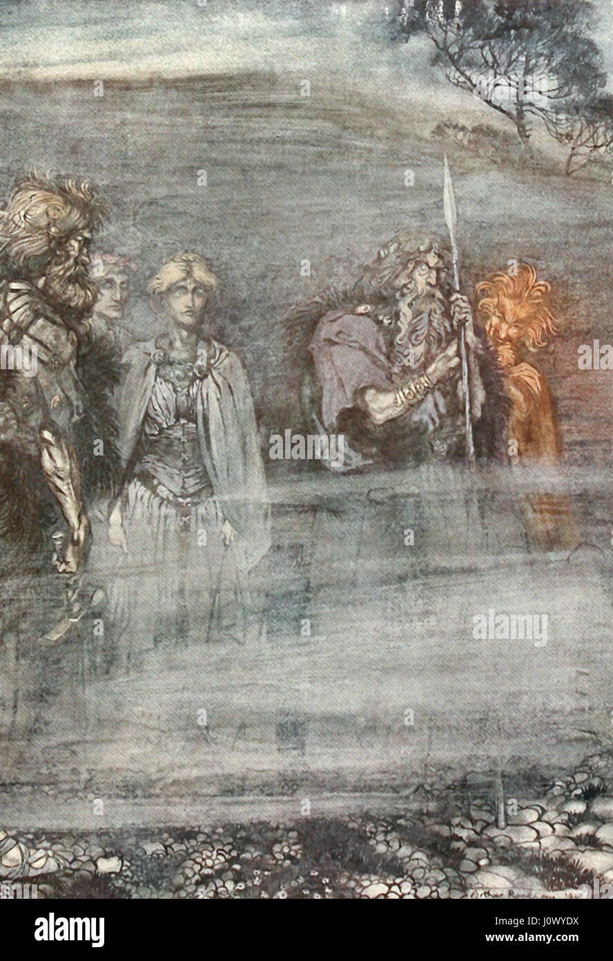 The Gods grow wan and aged at the loss of Freia - Scene from Das Rheingold of Der Ring des Nibelungen (The Ring - Stock Image