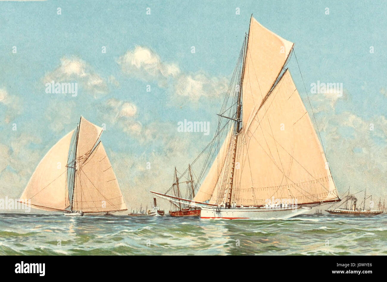 Mayflower leading Galatea in start of their final race for the America's Cup, off Sandy Hook, September 11, - Stock Image