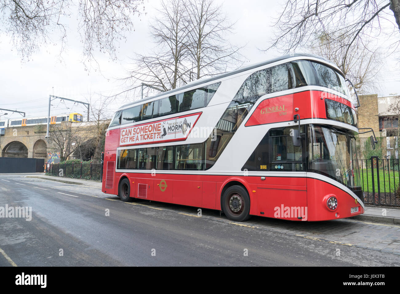 London new Routemaster bus in 1855 London General livery parked in Camden Town in the background in an Overground - Stock Image