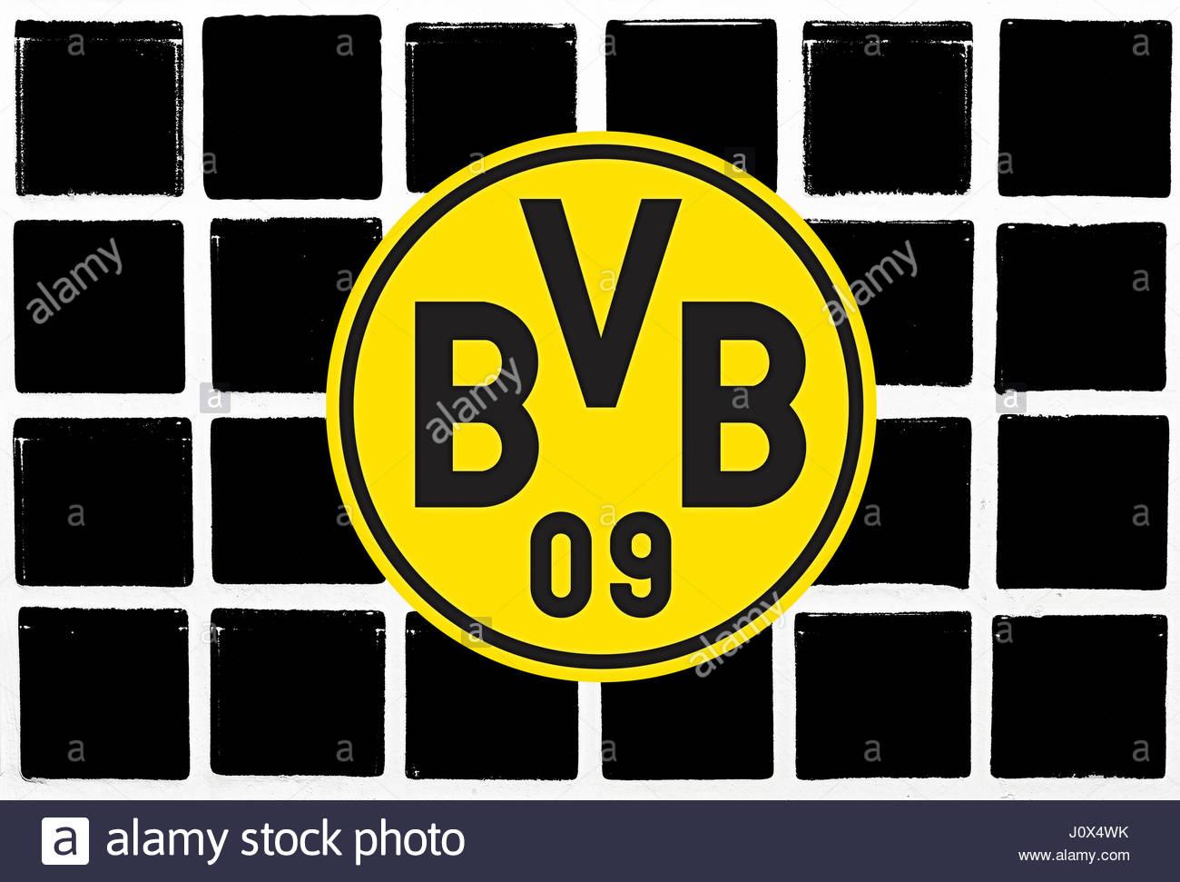 Glazed tiles colorful BVB germany - Stock Image
