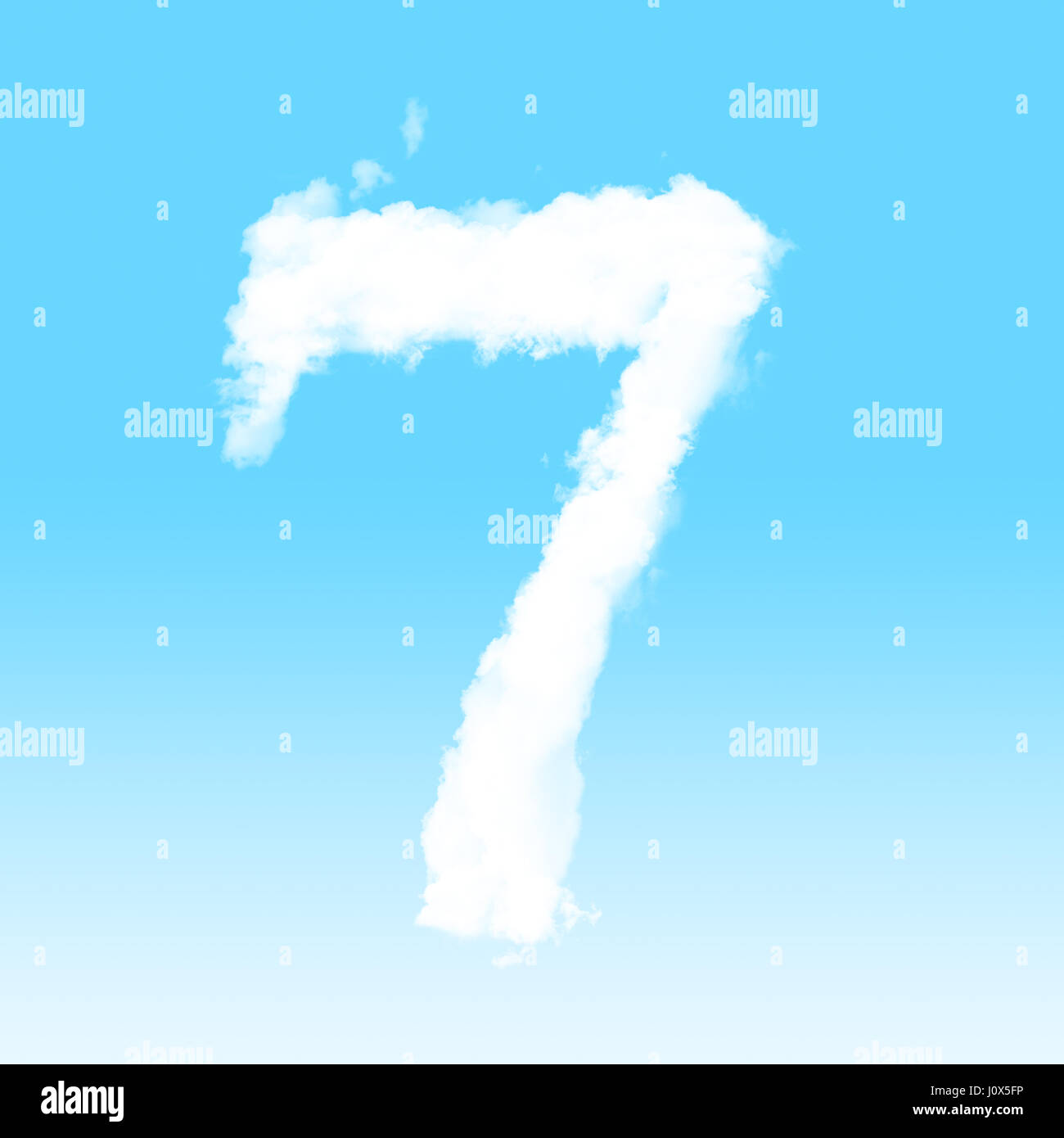Number cloud alphabet font at sky background - Stock Image