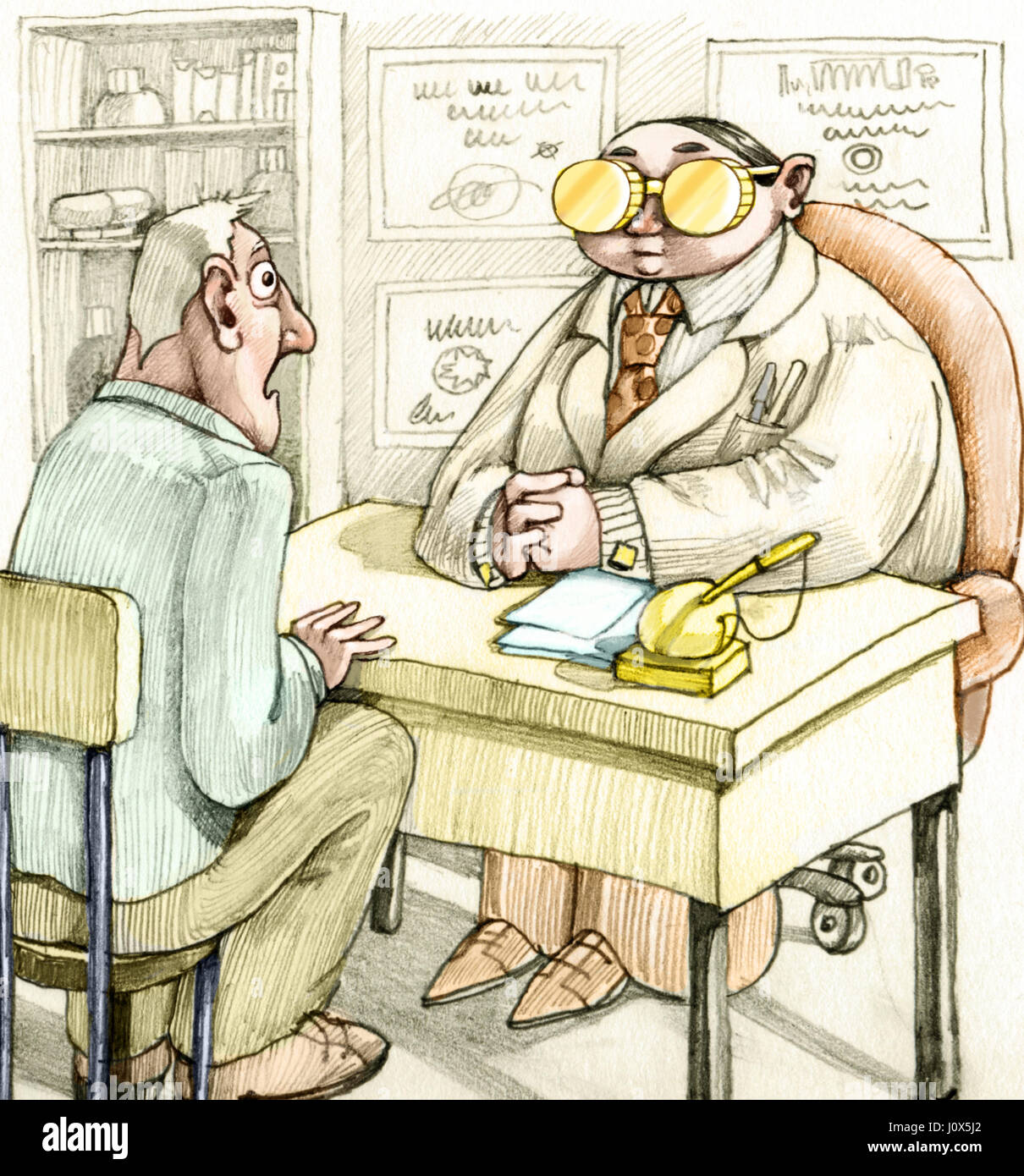 a patient amazed at the desk of a famous doctor, the doctor has two gold coins instead of spectacles - Stock Image