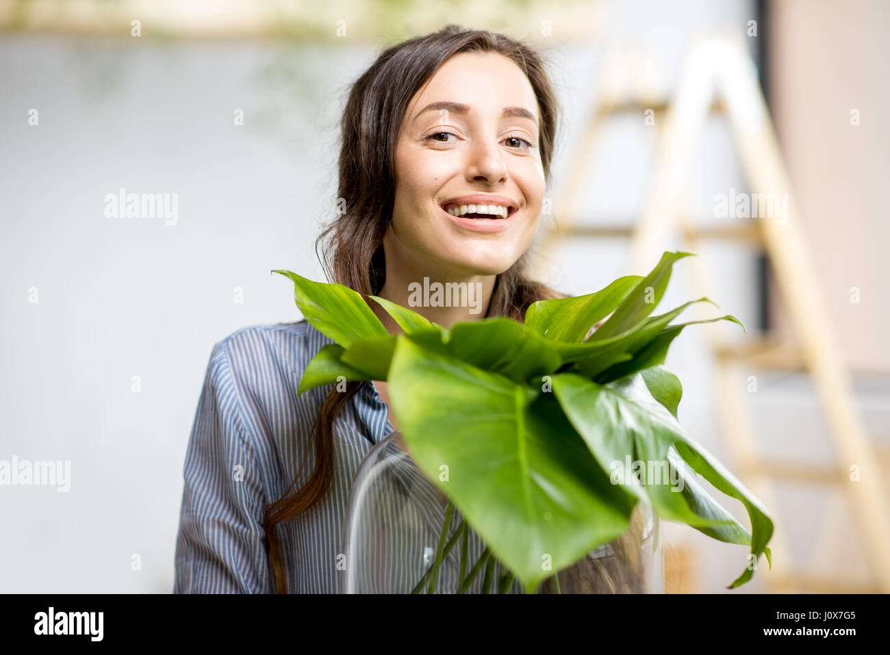 Woman with plant at home - Stock Image