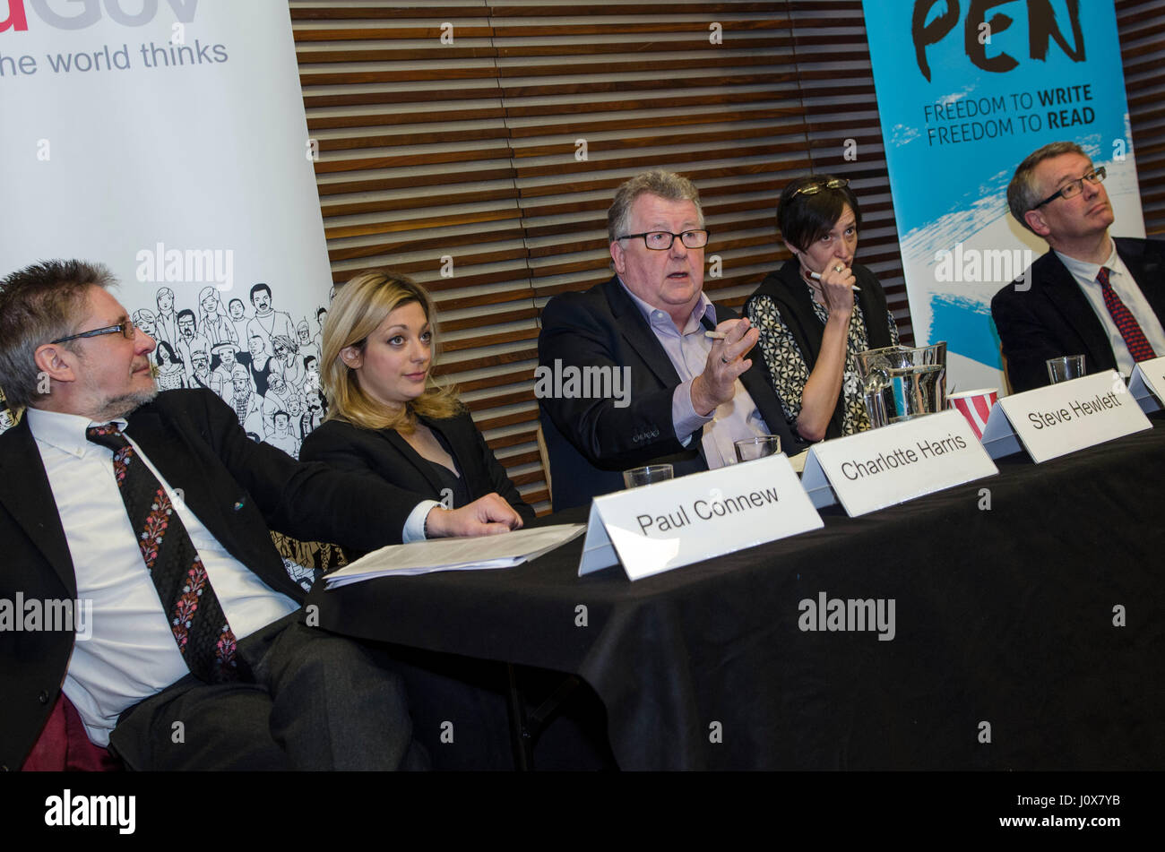 YouGov & English PEN Breakfast Panel Discussion chaired by the late Steve Hewlett, with Brian Cathcart, Paul - Stock Image