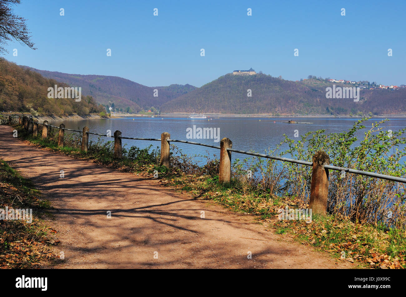 Edersee West Waterside with castle Waldeck - Stock Image
