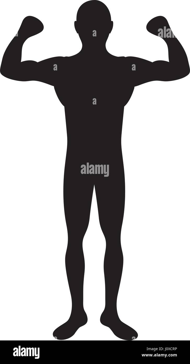 Black Silhouette Muscle Man Fitness