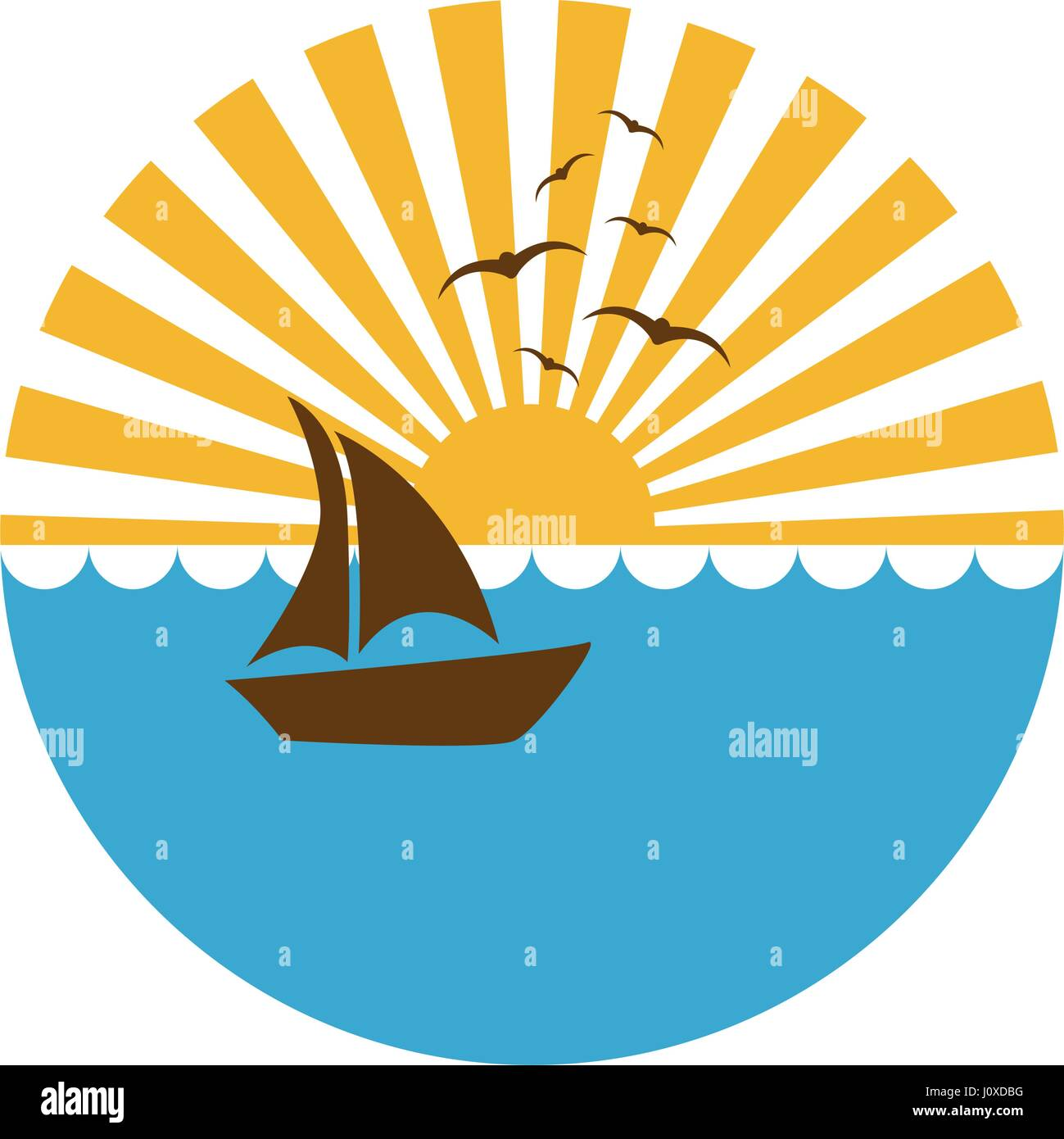 colorful circular background sunset in the ocean with boat over waves - Stock Vector